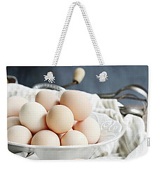 Apron And Eggs On Wooden Table Weekender Tote Bag