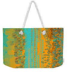 Aqua And Copper Abstract Weekender Tote Bag