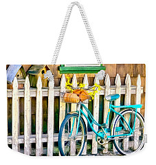 Aqua Antique Bicycle Along Fence Weekender Tote Bag
