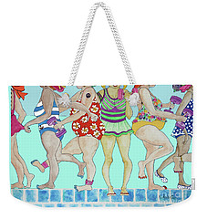 Weekender Tote Bag featuring the painting Aqua Babes by Rosemary Aubut