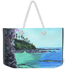 Weekender Tote Bag featuring the painting Aqua Passage by Judy Via-Wolff