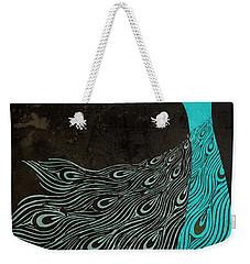 Aqua Peacock Art Nouveau Weekender Tote Bag