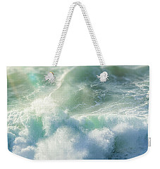 Weekender Tote Bag featuring the photograph Aqua Surge by Amy Weiss
