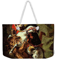 Weekender Tote Bag featuring the painting Arab Horseman Attacked By A Lion by Eugene Delacroix