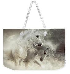 Weekender Tote Bag featuring the digital art Arabian Horses Sandstorm by Shanina Conway