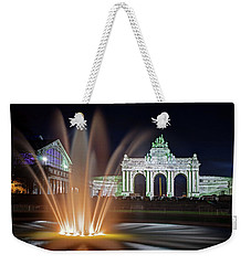 Weekender Tote Bag featuring the photograph Arcade Du Cinquantenaire Fountain At Night - Brussels by Barry O Carroll