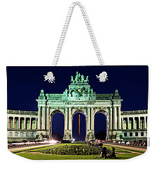 Weekender Tote Bag featuring the photograph Arcade Du Cinquantenaire At Night - Brussels by Barry O Carroll