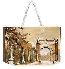 Weekender Tote Bag featuring the painting Arch- Barcelona, Spain by Ryan Fox
