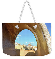 Weekender Tote Bag featuring the photograph Arch On The Rooftop Of The Casa Mila by Colleen Kammerer