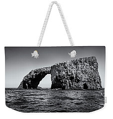 Weekender Tote Bag featuring the photograph Arch Rock Three In Black And White by Endre Balogh