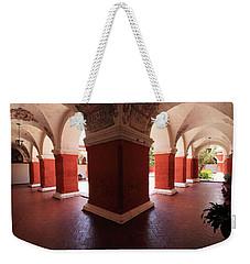 Weekender Tote Bag featuring the photograph Archway Paintings At Santa Catalina Monastery by Aidan Moran