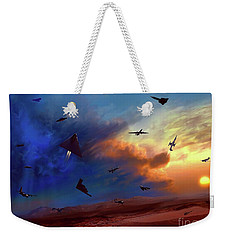 Weekender Tote Bag featuring the digital art Area 51 Expanded Version by Dave Luebbert