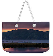 Aregunyats Range And Sevan Lake At Sunset, Armenia Weekender Tote Bag by Gurgen Bakhshetsyan