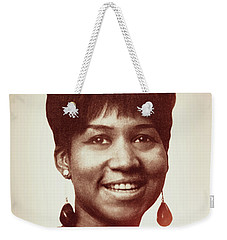 Weekender Tote Bag featuring the digital art Aretha Franklin I Say A Little Prayer by Anthony Murphy