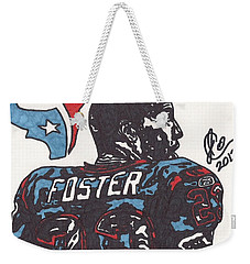 Weekender Tote Bag featuring the drawing Arian Foster 2 by Jeremiah Colley