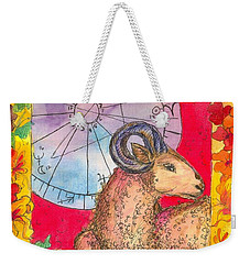 Weekender Tote Bag featuring the painting Aries by Cathie Richardson