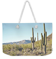 Arizona Cactus Blue Sky Landscape Weekender Tote Bag by Andrea Hazel Ihlefeld