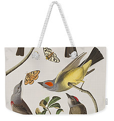 Arkansaw Flycatcher Swallow-tailed Flycatcher Says Flycatcher Weekender Tote Bag by John James Audubon