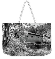 Weekender Tote Bag featuring the photograph Arlington Green Covered Bridge by Guy Whiteley