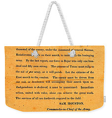 Texian Army Orders Call To Arms Broadside From Sam Houston 1836 Texas Revolution Weekender Tote Bag
