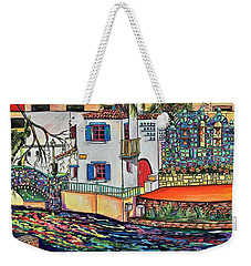 Weekender Tote Bag featuring the painting Arneson Theatre In Blues by Patti Schermerhorn