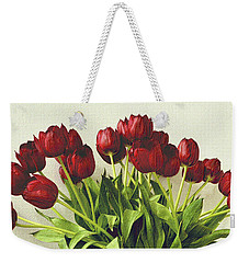 Array Of Red Tulips Weekender Tote Bag by Nadalyn Larsen