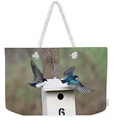 Weekender Tote Bag featuring the photograph Arrival And Departure by Gary Wightman