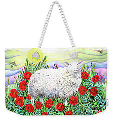 Weekender Tote Bag featuring the painting Arrival Of The Hummingbirds by Lise Winne