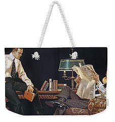 Weekender Tote Bag featuring the photograph Arrow Shirt Collar Ad, 1914 by Granger