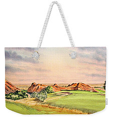 Weekender Tote Bag featuring the painting Arrowhead Golf Course Colorado Hole 3 by Bill Holkham