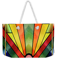 Weekender Tote Bag featuring the digital art Art Deco Chevron 2 V by Chuck Staley
