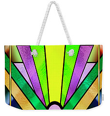 Weekender Tote Bag featuring the digital art Art Deco Chevron 3 V by Chuck Staley