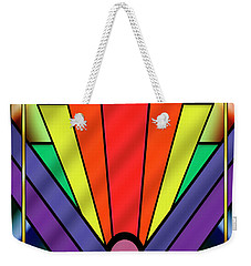 Weekender Tote Bag featuring the digital art Art Deco Chevron 1 V - Chuck Staley by Chuck Staley