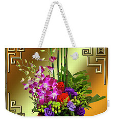 Weekender Tote Bag featuring the digital art Art Deco Floral Arrangement by Chuck Staley