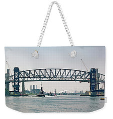 Weekender Tote Bag featuring the photograph Arthur Kill The Four Tugs by Steven Richman