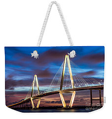 Arthur Ravenel Bridge At Night Weekender Tote Bag