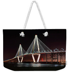 Weekender Tote Bag featuring the photograph Arthur Ravenel Jr. Bridge At Midnight by George Randy Bass