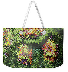Weekender Tote Bag featuring the painting Artistic Digital Fineart Graphic Waves From Veggie Green Salad Christmas Birthday Holidays Mom Dad  by Navin Joshi