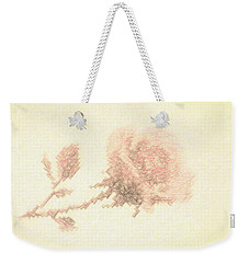 Artistic Etched Rose Weekender Tote Bag by Linda Phelps