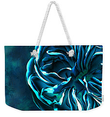 Weekender Tote Bag featuring the digital art Artistique Rose Blue by Mariella Wassing