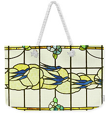 Arts And Crafts Panel Of A Group Of Swallows Before Clouds In A Border Of Flowers Weekender Tote Bag