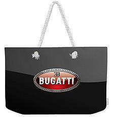 Bugatti - 3d Badge On Black Weekender Tote Bag by Serge Averbukh