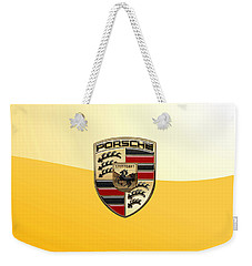 Porsche - 3d Badge On Yellow Weekender Tote Bag by Serge Averbukh