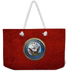 U. S.  Navy  -  U S N Emblem Over Red Velvet Weekender Tote Bag