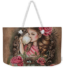 Weekender Tote Bag featuring the drawing Porcelain by Sheena Pike
