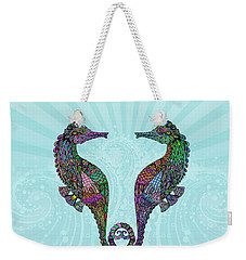 Electric Seahorses Weekender Tote Bag by Tammy Wetzel