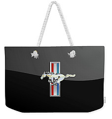 Ford Mustang - Tri Bar And Pony 3 D Badge On Black Weekender Tote Bag