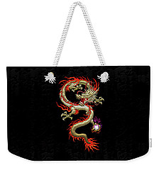 Golden Chinese Dragon Fucanglong On Black Silk Weekender Tote Bag