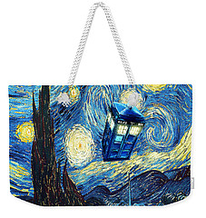 Weird Flying Phone Booth Starry The Night Weekender Tote Bag