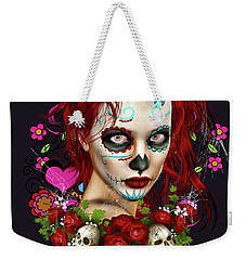 Weekender Tote Bag featuring the digital art Sugar Doll Red by Shanina Conway